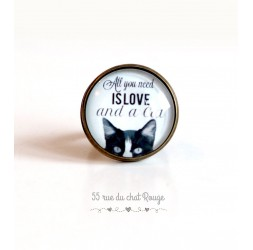 "Cabochon ring, chat, message ""All you need is love"", 20 mm, Bronze"