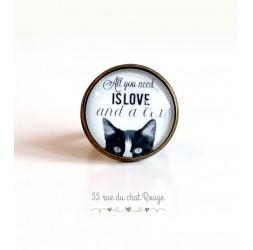 """cabujón anillo, chat, mensaje """"Todo lo que necesitas es amor"""", 20 mm, bronce"""