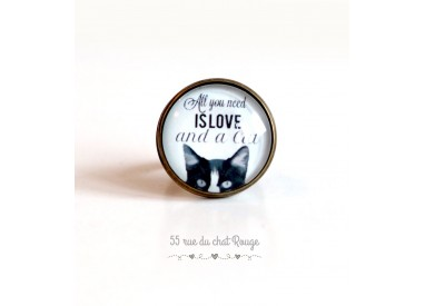 """Cabochon ring, chat, message """"All you need is love"""", 20 mm, Bronze"""