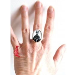 Bague cabochon, esprit gothique, la muerta,18x25 mm, argentée