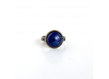 Cabochon ring, Natural stone Lapis Lazuli, blue, bronze