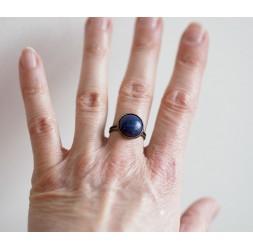 Bague cabochon, Pierre naturelle Lapis Lazuli, bleu, bronze