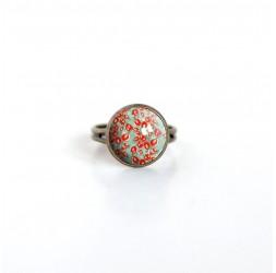 Cabochon Ring, Fleurette rot, grün, Frühling, Bronze