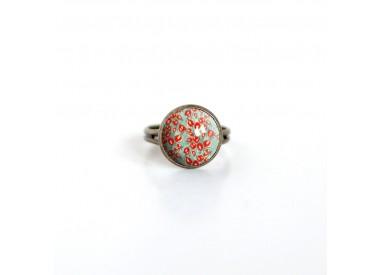 cabujón anillo, Fleurette rojo, verde, primavera, bronce