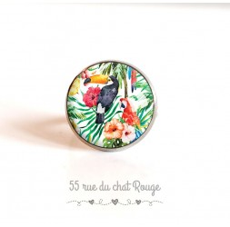 Ring cap, birds, Toucan parrot exotic vegetation, 18 mm, silver