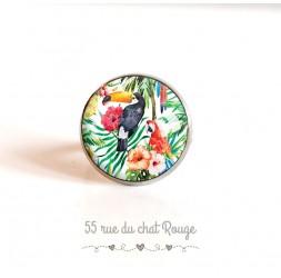 Ringkappe, Vögel, Toucan Papageien exotische Vegetation, 18 mm, Silber