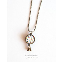 Long necklace, pendant dual cabochoh, multicolor small stars