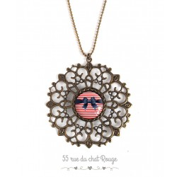 grande collana del pendente, cabochon del nodo della farfalla, marinaio, anno '60