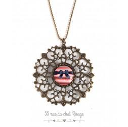 große Halskette, Cabochon Schmetterling Knoten, Seemann, Jahr 60ern