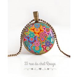 Collier pendentif cabochon, Esprit bohême, fleuri multicouleur, bronze