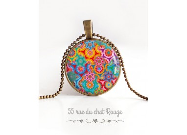 cabochon pendant necklace, Bohemian Spirit, multicolor floral, bronze
