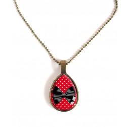Drop Halskette, Fliege schwarz und rot, Bronze oder Silber
