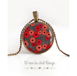 Collier pendentif cabochon, Coquelicots rouge et gris, bronze