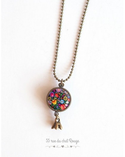 Long necklace, pendant dual cabochon Russian Foklore, floral multicolor