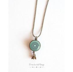 Lange Halskette, Anhänger Dual-Cabochon stieg auf pastellblau