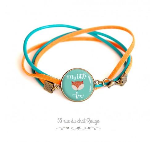 pulsera de cabujón de cristal, cuero de gamuza azul turquesa y naranja, My little Fox