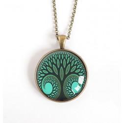 cabujón collar pendiente, árbol de la vida, pato verde, bronce