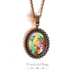 colgante de collar de cabujón, flores Japón, amarillo, verde y rosa, bronce