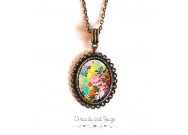 cabochon pendant necklace, Japan flowers, yellow, green and pink, bronze