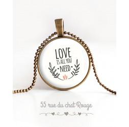 collana pendente cabochon, messaggio d'amore è tutto ciò che serve, bronzo