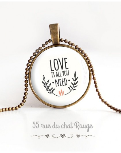 cabochon pendant necklace, Message Love is all you need, bronze