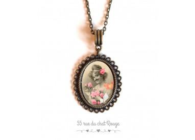 cabochon pendant necklace, Portrait woman, retro, mustache, bronze