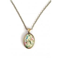 Collar cabujón oval, pavo real retro, espíritu elegante lamentable, bronce