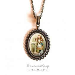 Collier pendentif cabochon, Alice aux pays des merveilles, vintage, bronze