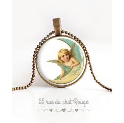 Collier pendentif cabochon, Angelot, Lune, tons pastels, bronze