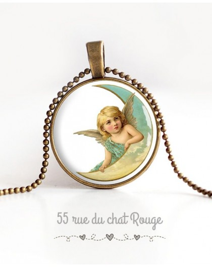 cabochon pendant necklace, Cherub, Moon, pastel, bronze