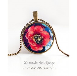 Cabochon Halskette, große rote Mohnblume blühte, mitternachtsblau, bronze