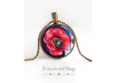 cabochon pendant necklace, large red poppy blossomed, midnight blue, bronze