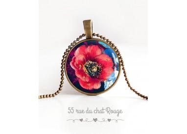 Collier pendentif cabochon, grand coquelicot rouge épanoui, bleu nuit, bronze