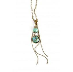 Cabochon Halskette, Mexiko Inspiration, Patchwork grün und Türkistönen, Bronze