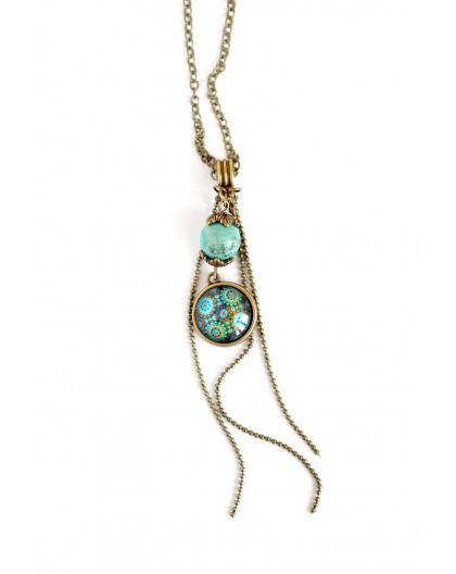 Collier pendentif cabochon, inspiration mexique, patchwork tons vert et turquoise, bronze