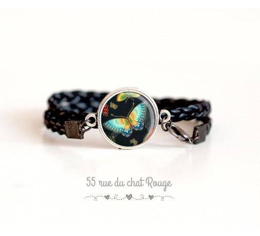 bracelet cabochon papillon, cordon noir tressé