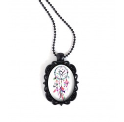 Black Pendant Necklace, oval cabochon, Dreamcatcher, pink color tones and fuchsia, black