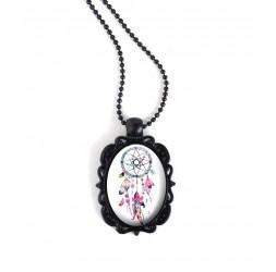Nera collana ciondolo, cabochon ovale, Dreamcatcher, tonalità di colore rosa e fucsia, nero