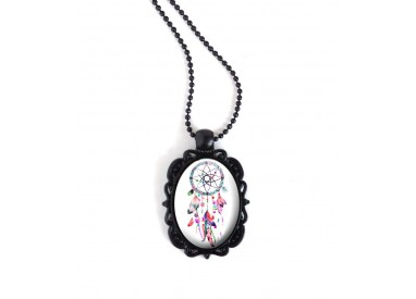 Colgante, collar negro, cabujón oval, Dreamcatcher, tonos de color rosa y fucsia, negro