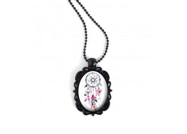 Collier pendentif noir, cabochon ovale, Attrape-rêves, couleurs tons rose et fushia, noire