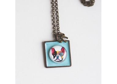 Short Necklace, dog pendant cabochon Carlin, pastel blue, bronze