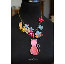Multicolor necklace, Red Cat, Flower, Bird, Fish, Fimo