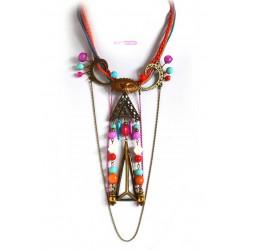 Grand-Halskette sehr originell, Event und Bronze Mehrfarben