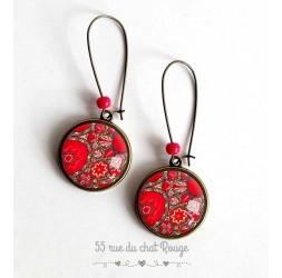 Boucles d'oreilles, folklore mexicain, floral, fleurs rouge, rose, bronze