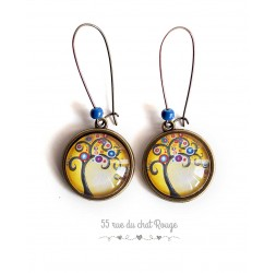 Earrings, Tree of Life, golden yellow, bronze
