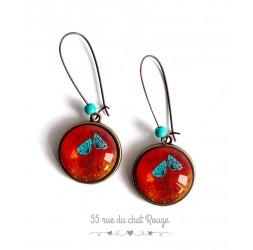 Boucles d'oreilles,  Jolis coquelicot bleu turquoise et rouge, bronze