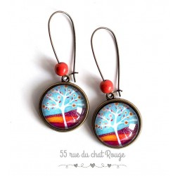 Earrings, Tree of Life, orange flowers, blue, orange, bronze