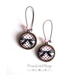 Boucles d'oreilles, Noeuds papillon noir, rose petit points noirs, bronze