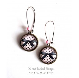 Earrings, Bow Ties Black, Pink small black dots, bronze