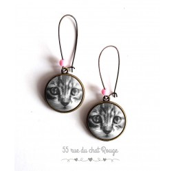 Earrings, Small cat, black and white, bronze